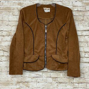 Vintage EP COLLECTION Zip Up Velvet Blouse Top M